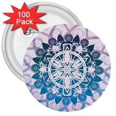 Mandalas Symmetry Meditation Round 3  Buttons (100 pack)