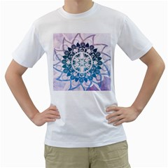 Mandalas Symmetry Meditation Round Men s T-Shirt (White) (Two Sided)