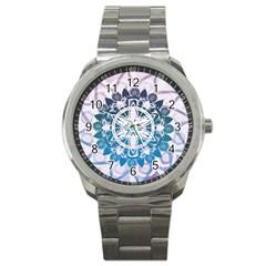Mandalas Symmetry Meditation Round Sport Metal Watch