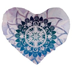 Mandalas Symmetry Meditation Round Large 19  Premium Flano Heart Shape Cushions