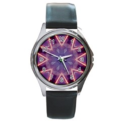 Abstract Glow Kaleidoscopic Light Round Metal Watch