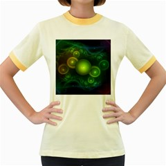 Retrotacular Rainbow Dots in a Fractal Microscope Women s Fitted Ringer T-Shirts