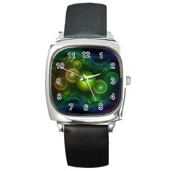 Retrotacular Rainbow Dots in a Fractal Microscope Square Metal Watch