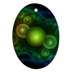 Retrotacular Rainbow Dots In A Fractal Microscope Oval Ornament (two Sides)
