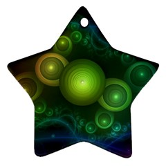 Retrotacular Rainbow Dots in a Fractal Microscope Star Ornament (Two Sides)