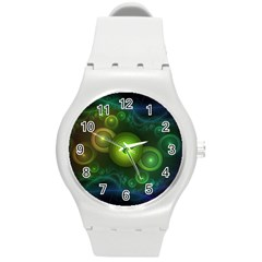 Retrotacular Rainbow Dots in a Fractal Microscope Round Plastic Sport Watch (M)
