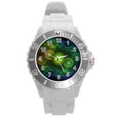 Retrotacular Rainbow Dots In A Fractal Microscope Round Plastic Sport Watch (l)