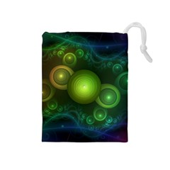 Retrotacular Rainbow Dots in a Fractal Microscope Drawstring Pouches (Medium)