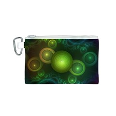 Retrotacular Rainbow Dots in a Fractal Microscope Canvas Cosmetic Bag (S)