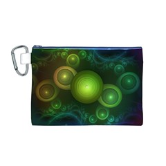 Retrotacular Rainbow Dots In A Fractal Microscope Canvas Cosmetic Bag (m)
