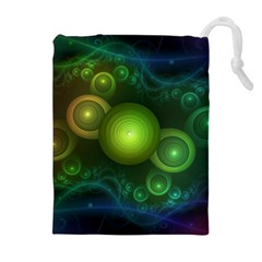 Retrotacular Rainbow Dots in a Fractal Microscope Drawstring Pouches (Extra Large)
