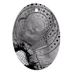 Fragmented Fractal Memories and Gunpowder Glass Ornament (Oval)
