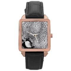 Fragmented Fractal Memories and Gunpowder Glass Rose Gold Leather Watch