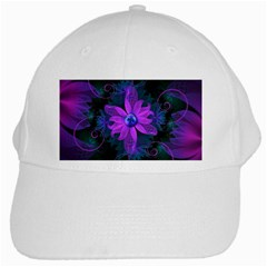 Beautiful Ultraviolet Lilac Orchid Fractal Flowers White Cap