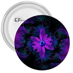 Beautiful Ultraviolet Lilac Orchid Fractal Flowers 3  Buttons