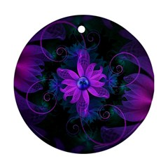 Beautiful Ultraviolet Lilac Orchid Fractal Flowers Ornament (Round)