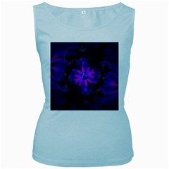 Beautiful Ultraviolet Lilac Orchid Fractal Flowers Women s Baby Blue Tank Top