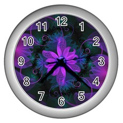 Beautiful Ultraviolet Lilac Orchid Fractal Flowers Wall Clocks (Silver)