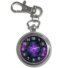Beautiful Ultraviolet Lilac Orchid Fractal Flowers Key Chain Watches
