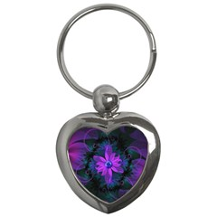 Beautiful Ultraviolet Lilac Orchid Fractal Flowers Key Chains (heart)
