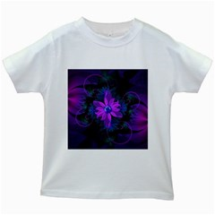 Beautiful Ultraviolet Lilac Orchid Fractal Flowers Kids White T-Shirts