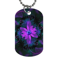 Beautiful Ultraviolet Lilac Orchid Fractal Flowers Dog Tag (One Side)