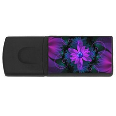 Beautiful Ultraviolet Lilac Orchid Fractal Flowers USB Flash Drive Rectangular (4 GB)