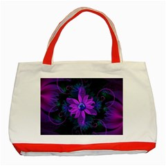 Beautiful Ultraviolet Lilac Orchid Fractal Flowers Classic Tote Bag (Red)