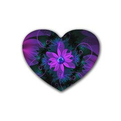 Beautiful Ultraviolet Lilac Orchid Fractal Flowers Rubber Coaster (Heart)