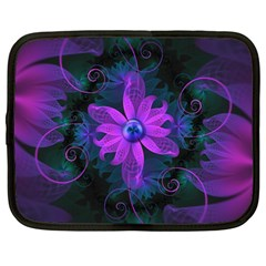 Beautiful Ultraviolet Lilac Orchid Fractal Flowers Netbook Case (Large)