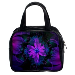Beautiful Ultraviolet Lilac Orchid Fractal Flowers Classic Handbags (2 Sides)