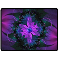 Beautiful Ultraviolet Lilac Orchid Fractal Flowers Fleece Blanket (Large)