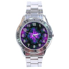 Beautiful Ultraviolet Lilac Orchid Fractal Flowers Stainless Steel Analogue Watch