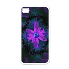 Beautiful Ultraviolet Lilac Orchid Fractal Flowers Apple iPhone 4 Case (White)