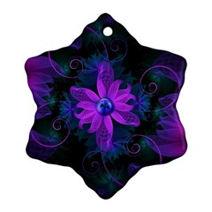 Beautiful Ultraviolet Lilac Orchid Fractal Flowers Ornament (Snowflake)