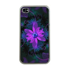 Beautiful Ultraviolet Lilac Orchid Fractal Flowers Apple iPhone 4 Case (Clear)