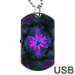 Beautiful Ultraviolet Lilac Orchid Fractal Flowers Dog Tag USB Flash (Two Sides)