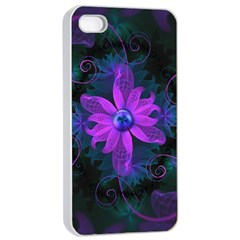 Beautiful Ultraviolet Lilac Orchid Fractal Flowers Apple iPhone 4/4s Seamless Case (White)