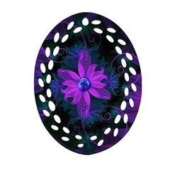 Beautiful Ultraviolet Lilac Orchid Fractal Flowers Oval Filigree Ornament (Two Sides)
