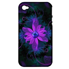 Beautiful Ultraviolet Lilac Orchid Fractal Flowers Apple iPhone 4/4S Hardshell Case (PC+Silicone)