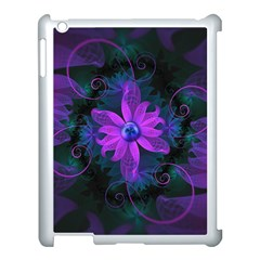 Beautiful Ultraviolet Lilac Orchid Fractal Flowers Apple iPad 3/4 Case (White)