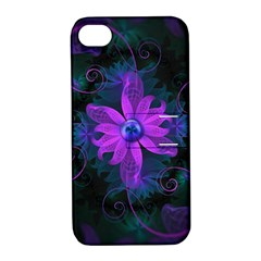 Beautiful Ultraviolet Lilac Orchid Fractal Flowers Apple iPhone 4/4S Hardshell Case with Stand