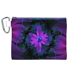 Beautiful Ultraviolet Lilac Orchid Fractal Flowers Canvas Cosmetic Bag (XL)