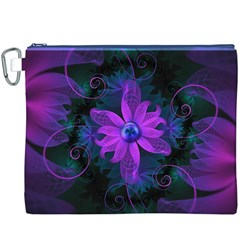 Beautiful Ultraviolet Lilac Orchid Fractal Flowers Canvas Cosmetic Bag (XXXL)
