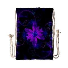 Beautiful Ultraviolet Lilac Orchid Fractal Flowers Drawstring Bag (Small)