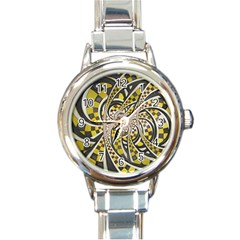 Liquid Taxi Cab, a Yellow Checkered Retro Fractal Round Italian Charm Watch