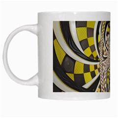 Liquid Taxi Cab, a Yellow Checkered Retro Fractal White Mugs
