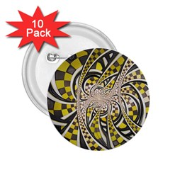 Liquid Taxi Cab, a Yellow Checkered Retro Fractal 2.25  Buttons (10 pack)
