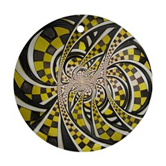 Liquid Taxi Cab, A Yellow Checkered Retro Fractal Round Ornament (two Sides)
