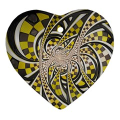 Liquid Taxi Cab, a Yellow Checkered Retro Fractal Heart Ornament (Two Sides)
